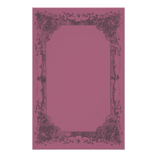 Dark Burgundy Romantic French Flourish Stationery