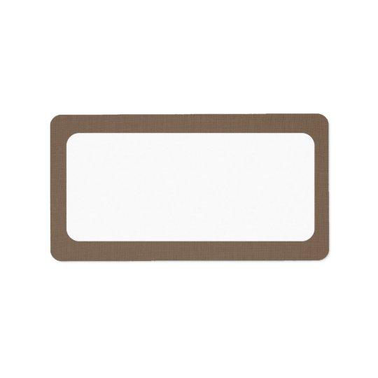Dark Burlap Canvas   Blank Address Label