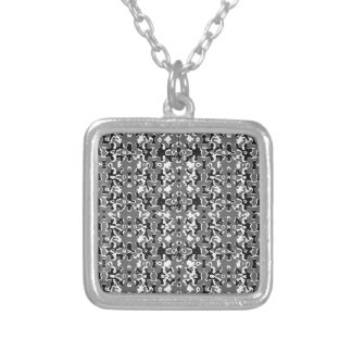 Dark Camo Style Design Silver Plated Necklace