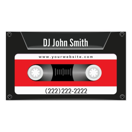 Dark Cassette Tape Music DJ Business Card