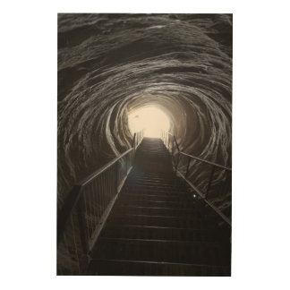 Dark Cave Tunnel Wood Print