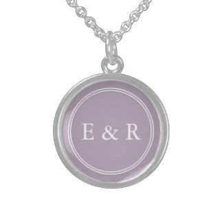 Dark Chalky Pastel Purple Wedding Party Gifts Sterling Silver Necklace