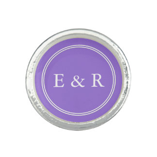 Dark Chalky Pastel Purple Wedding Party Set Rings