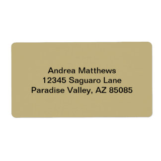 Dark Champagne Solid Color Shipping Label