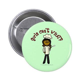 Dark Chef Girl 2 Inch Round Button