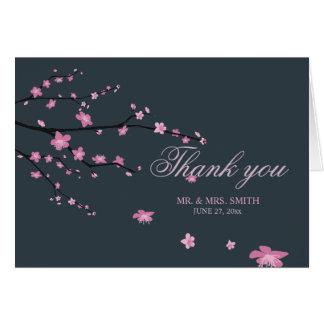 Dark Cherry Blossom Wedding Thank You Note Card