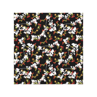 Dark Chinoiserie Floral Collage Pattern Canvas Print