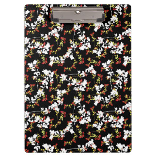 Dark Chinoiserie Floral Collage Pattern Clipboard