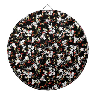 Dark Chinoiserie Floral Collage Pattern Dartboard