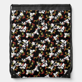 Dark Chinoiserie Floral Collage Pattern Drawstring Bag