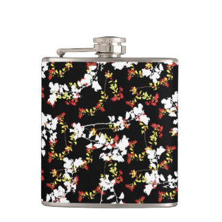 Dark Chinoiserie Floral Collage Pattern Hip Flask