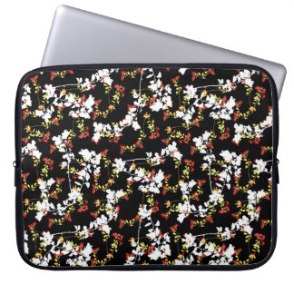 Dark Chinoiserie Floral Collage Pattern Laptop Sleeve