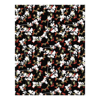 Dark Chinoiserie Floral Collage Pattern Letterhead