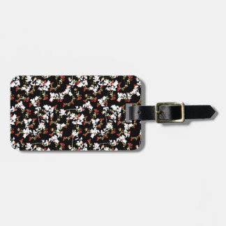 Dark Chinoiserie Floral Collage Pattern Luggage Tag