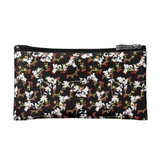Dark Chinoiserie Floral Collage Pattern Makeup Bag