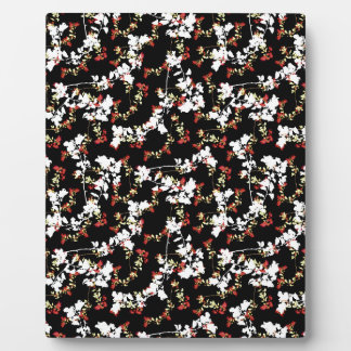Dark Chinoiserie Floral Collage Pattern Plaque