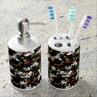 Dark Chinoiserie Floral Collage Pattern Soap Dispenser And Toothbrush Holder