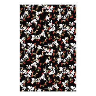 Dark Chinoiserie Floral Collage Pattern Stationery