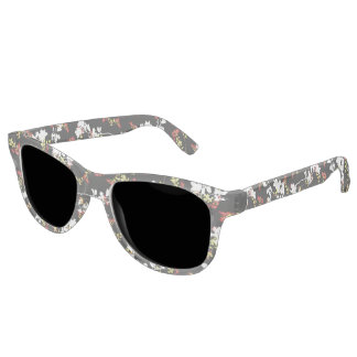 Dark Chinoiserie Floral Collage Pattern Sunglasses