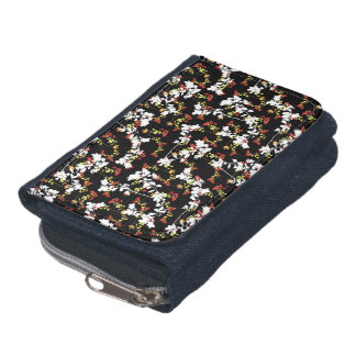 Dark Chinoiserie Floral Collage Pattern Wallets