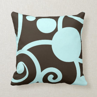 dark chocolate brown and teal abstract pattern throw pillow