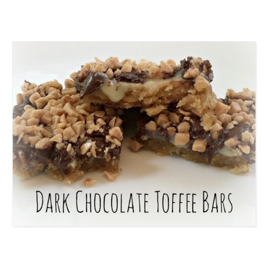 Dark Chocolate Toffee Bars Postcard