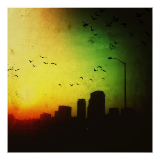 Dark City Sunrise Poster