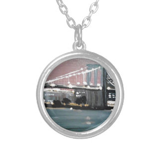 Dark CityScape Silver Plated Necklace