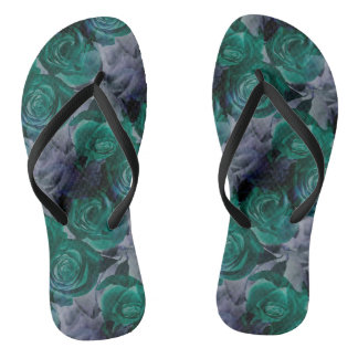Dark colored rose flip flops