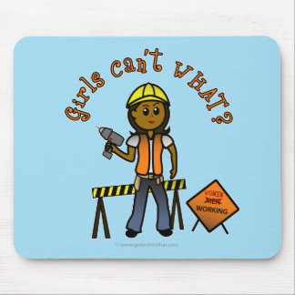 Dark Construction Girl Mouse Pad