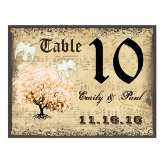 Dark Coral Heart Leaf Tree Table Number Card Postcard