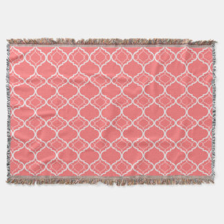 Dark Coral Pink Quatrefoil Geometric Pattern Throw Blanket