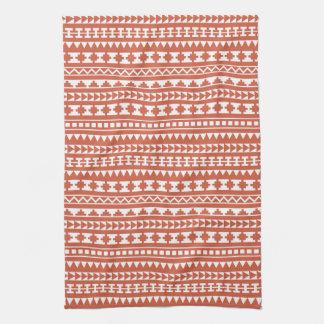 Dark Coral Tribal Aztec Pattern Hand Towel