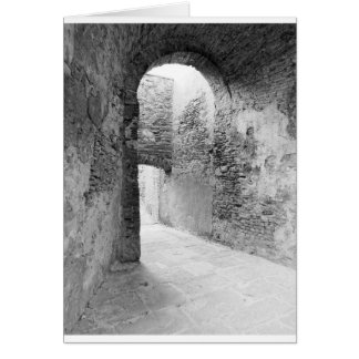 Dark corridors of an old fortification structure card