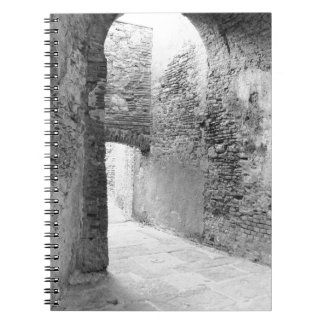 Dark corridors of an old fortification structure notebooks