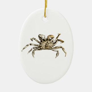 Dark Crab Photo Ceramic Oval Ornament