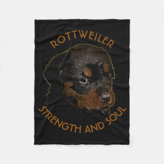 Dark Cute Rottweiler Puppy Dog Fleece Blanket