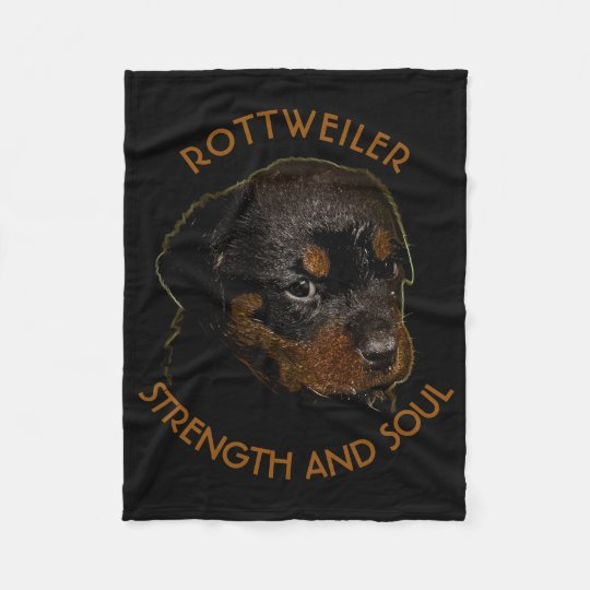 Dark Cute Rottweiler Puppy Dog Fleece Blanket