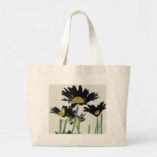 Dark Daisies Large Tote Bag