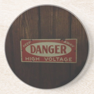 Dark danger high voltage beverage coaster