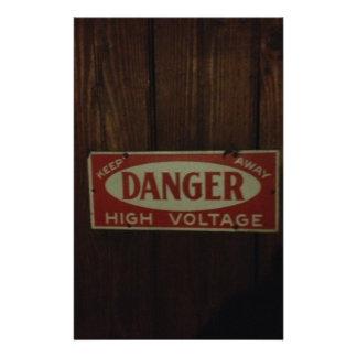 Dark danger high voltage custom stationery