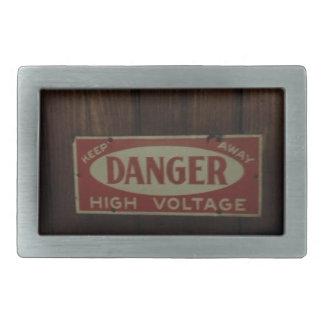 Dark danger high voltage rectangular belt buckle