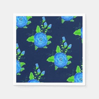 Dark Denim Blue And Roses Disposable Napkins