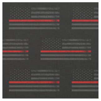 Dark Distressed Fire Fighter Flag Fabric