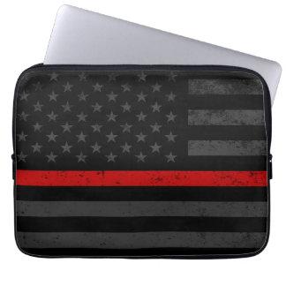 Dark Distressed Fire Fighter Flag Laptop Sleeve
