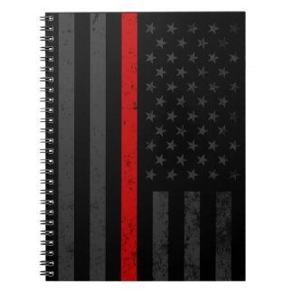 Dark Distressed Fire Fighter Flag Notebooks