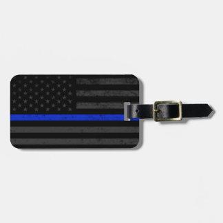 Dark Distressed Police Style American Flag Luggage Tag
