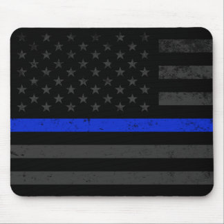 Dark Distressed Police Style American Flag Mouse Pad