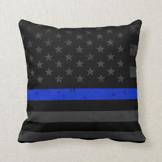 Dark Distressed Police Style American Flag Throw Pillow