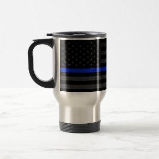 Dark Distressed Police Style American Flag Travel Mug